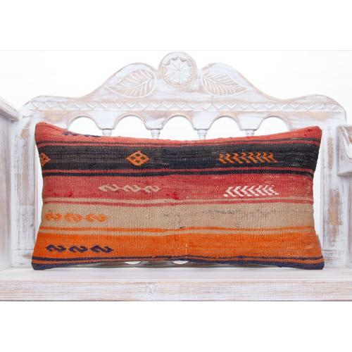 "Colorful Vintage Anatolian Kilim Pillow 14x28"" Embroidered Lumbar Throw"