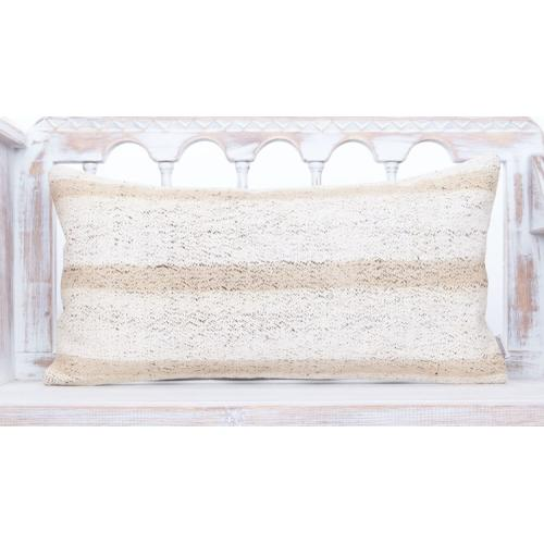 "Handmade White Kilim Pillow 14x28"" Striped Lumbar Sofa Throw Pillowcase"