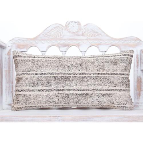 Striped Retro Lumbar Kilim Pillowcase 14x28 Gray Turkish Throw Pillow