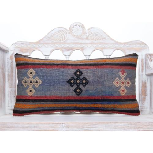 Vintage Designer Pillowcase 14x28 Anatolian Handmade Lumbar Kilim Throw