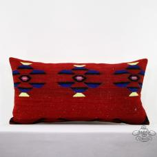 Red Lumbar Kilim Pillow Long Ethnic Decor Sham 14x28 Turkish Cushion Cover Throw