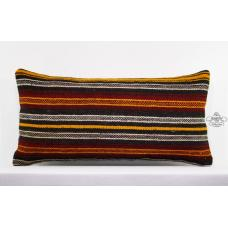 "Striped Lumbar Kilim Pillow 14x28"" Long Turkish Handmade Rug Cushion"