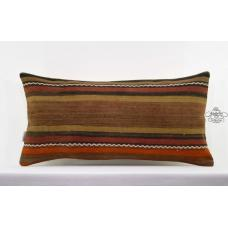 "Striped Lumbar Rug Pillowcase Turkish Tribal Kilim Pillow 14x28"" Long Sofa Throw"