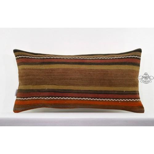 "Striped Lumbar Rug Pillowcase Turkish Tribal Kilim Pillow 14x28"" Long Sofa Throw"