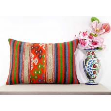 Bohemian Living Room Decor Pillow Large Turkish Kilim Rug Lumbar Cushion Cover