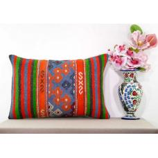 Boho Cottage Lumbar Kilim Pillow Oranges Embroidered Interior Decor Cushion Sham