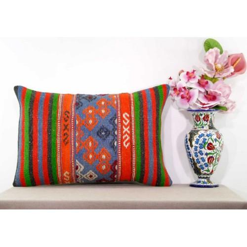 Boho Cottage Lumbar Kilim Pillow Oranges Embroidered Interior Decor Cushion Sham