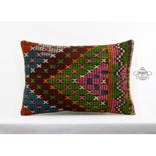 Boho Cottage Pillow Embroidered Lumbar Pillowcase Turkish Kilim Cushion Cover