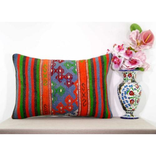 Eclectic Lumbar Kilim Cushion Cover Handmade Kelim Rug Ethnic Sofa Pillow Sham