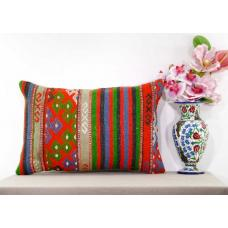 Embroidered Retro Lumbar Kilim Rug Pillow Large Eclectic Oranges Turkish Cushion