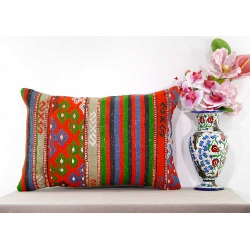 Embroidered Retro Lumbar Kilim Rug Pillow Large Eclectic Oranges Turkish Cushion
