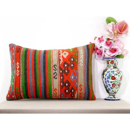 Gypsy Interior Decor Colorful Kilim Pillowcase Turkish Lumbar Sofa Cushion Cover