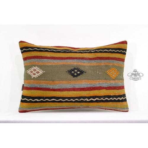 "Embroidered Anatolian Lumbar Kilim Pillow 16x24"" Decorative Cushion"