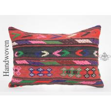 "Decorative Boho Kilim Pillow 16x24"" Full Embroidered Colorful Cushion"