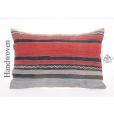 "Striped VIntage Lumbar Kilim Pillow 16x24"" Turkish Hand Woven Cushion"