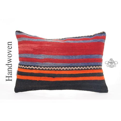 Vintage Striped Kilim Pillow Interior Decor Accent Retro Turkish Lumbar Cushion