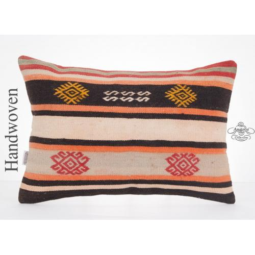 "Anatolian Cottage Chic Lumbar Kilim Pillowcase 16x24"" Rug Pillow Turkish Cushion"