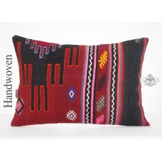 "Boho Chic Lumbar Kilim Pillow 16x24"" Embroidered Kelim Rug Ethnic Cushion Cover"