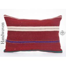 Striped Decorative Lumbar Kilim Pillowcase 16x24 Pillow Ethnic Kelim Rug Cushion
