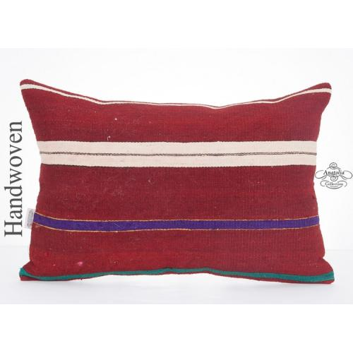 Striped Decorative Lumbar Kilim Pillowcase 16x24 Pillow Ethnic Kelim Rug Cushion