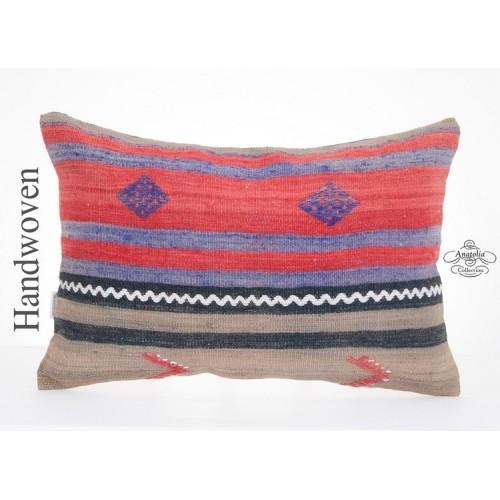 "Vintage Anatolian Kilim Pillow 16x24"" Turkish Cushion Handwoven Old Kelim Rug Throw"