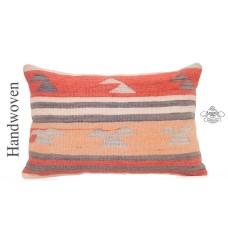 "Cottage Chic Lumbar Kilim Throw Pillow Oriental Turkish 16x24"" Rug Cushion Cover"