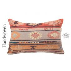 "Designer Lumbar Kilim Throw Pillow 16x24"" Embroidered Turkish Cushion"