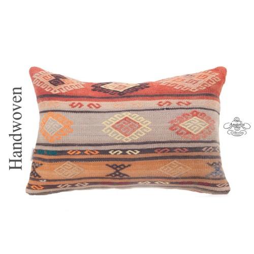 "Designer Lumbar Kilim Throw Pillow 16x24"" Embroidered Turkish Cushion"