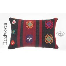"Rustic Lumbar Kilim Throw Pillow 16x24"" Embroidered Winter House Decor Cushion"
