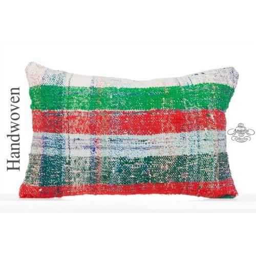 "Art Deco Colorful Kilim Pillow Cover Rectangle 16x24"" Lumbar Caput Cushion"