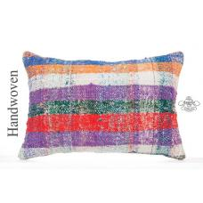 "Colorful Chapput Kilim Pillow Cover 16x24"" Modern Bohemian Decor Lumbar Cushion"