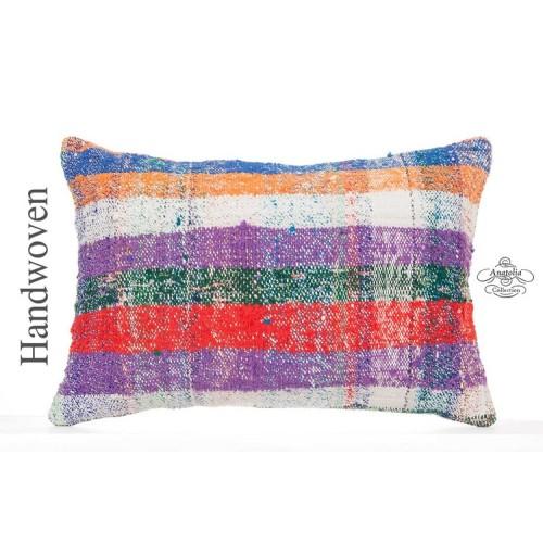 "Colorful Chapput Kilim Pillow Cover 16x24"" Modern Bohemian Decor Lumbar Cushion"