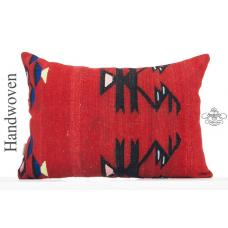 "Red Vintage Lumbar Kilim Pillow Cover 16x24"" Rectangle Decorative Pillowcase"