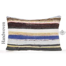 "Striped Colorful Kilim Pillow Cover 16x24"" Lumbar Caput Throw Modern Pillowcase"