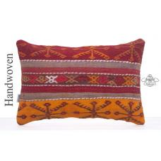 "Colorful Embroidered Lumbar Kilim Pillow 16x24"" Decorative Sofa Throw"