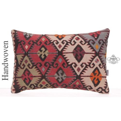 Oriental Lumbar Kilim Cushion 16x24 Geometric Decorative Sofa Pillow
