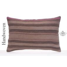 Striped Old Kilim Pillowcase 16x24 Antique Decorative Lumbar Rug Throw