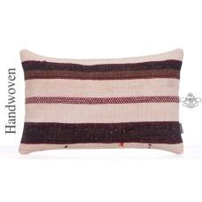 "Cottage Chic Rug Pillowcase 16x24"" White Striped Lumbar Kilim Pillow"