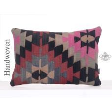 Ethnic Lumbar Kilim Cushion 16x24 Colorful Decorative Rug Throw Pillow