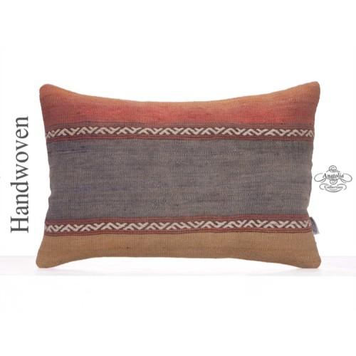 "Handmade Old Rug Cushion 16x24"" Solid Decorative Kilim Pillow Cover"