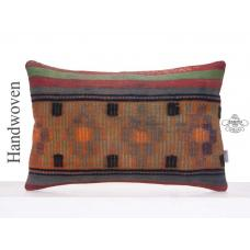 "Shabby Lumbar Kilim Pillowcase 16x24"" Retro Handmade Rug Pillow Cover"
