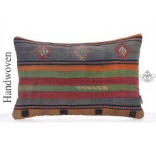 Shabby Rug Pillowcase 16x24 Colorful Antique Lumbar Kilim Pillow Cover