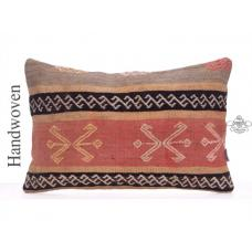 Vintage Rug Cushion Cover 16x24 Embroidered Antique Kilim Throw Pillow