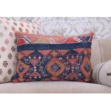 Unique Lumbar Kilim Pillow 16x24 Antique Handmade Anatolian Rug Cushion
