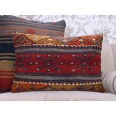 "Anatolian Vintage Kilim Pillow 16x24"" Embroidered Rug Cushion Cover"