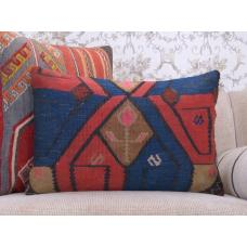 "Antique Lumbar Kilim Pillow 16x24"" Contemporary Old Rug Cushion Cover"