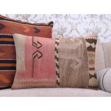 "Vintage Lumbar Kilim Pillow 16x24"" Handmade Rug Decor Throw Pillowcase"