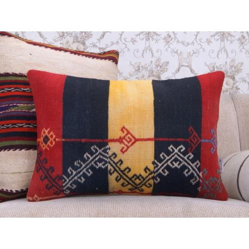 """Contemporary Old Kilim Pillow 16x24"""" Embroidered Lumbar Rug Cushion"""