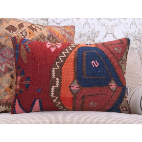 "Eclectic Decor Throw 16x24"" Lumbar Kilim Pillow Colorful Rug Cushion"