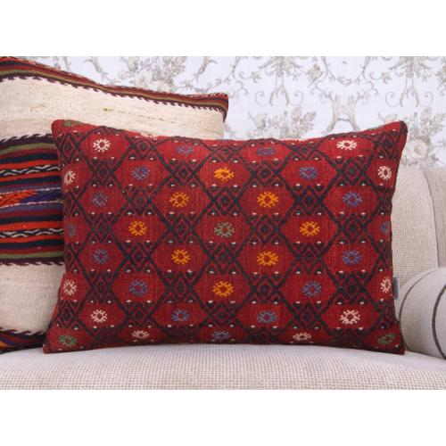 Modern Home Decor Throw Pillow Red Embroidered Lumbar Kilim Cushion